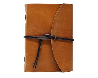 Leather Book Diary Notebook - Vickys World Box OX Raw Caramel Din A5 with 400 pages - Free personalization