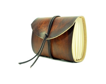 Leather book  - soft OX RAW - Coco - A5 - 400 pages - diary of Vickys World® including free embossing