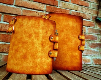 Leather ring binder OX Office Antique PaperJail A5 - South German cowhide leather - Vickys World - Handcraft Made in Germany