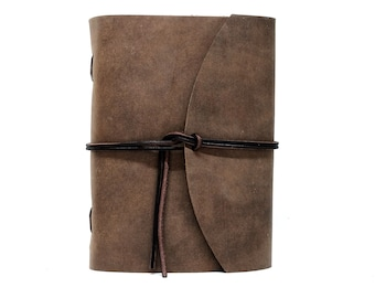 Leather Book Diary Notebook - Vickys World Box OX Raw Cocoa Din A5 with 400 Pages - Free Personalization