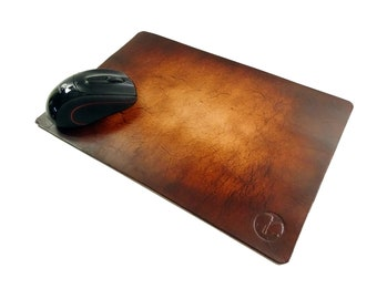 Vickys World Genuine Leather Mouse Pad Antique Maroon - Includes Free Embossing of Your Initials - Mouse Pad Leather Underlay