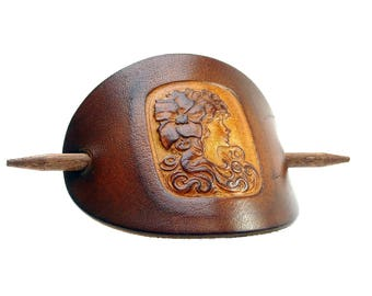 Leather Hair slide - Barrette OX Antique Cameo Sophia - Vickys World - Hair clip