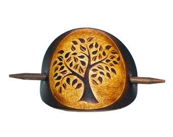 Barrette hair slide leather Life Tree - OX Antique Maroon Tree of Life - Vickys World