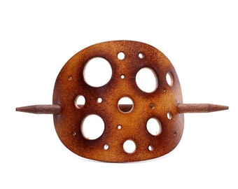 Leather Hair slide - OX Antique Cheese - Vickys World - Hair clip leather