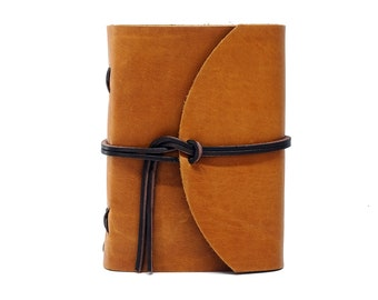 Leather Book Diary Notebook - Vickys World Box OX Raw Caramel Din A6 with 400 pages - Free personalization