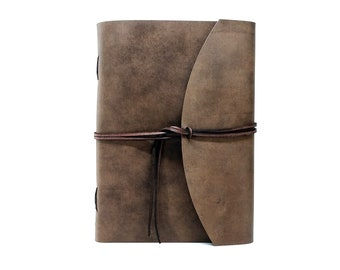 Leather Book Diary Notebook - Vickys World Box OX Raw Cocoa Din A4 with 400 pages - Free personalization