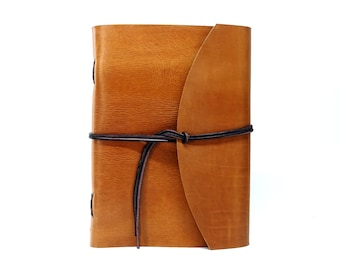 Leather Book Diary Notebook - Vickys World Box OX Raw Caramel Din A4 with 400 pages - Free personalization