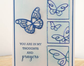 Handmade Sympathy Card, Butterfly Thinking of you Card, Sympathy Card, Condolences Card, Thoughts and Prayers Card