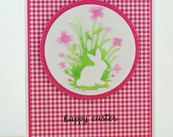Easter Bunny Card, Cute Easter Rabbit Card, Unique Easter Card, Hand stamped Easter card