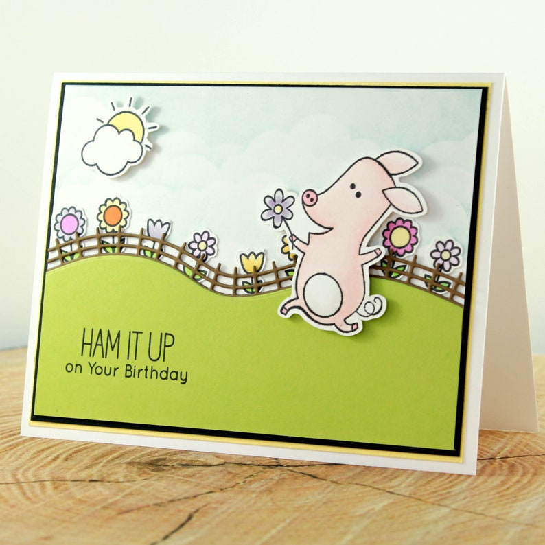Cute Birthday Card with Pig and Flowers Ham It Up Birthday Card Handmade Birthday Card OOAK Birthday Card