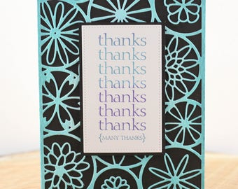 Handmade Thank You Card, Unique Thank You, Many Thanks, Die Cut Thank You, Watercolour Thank You, OOAK Thank You