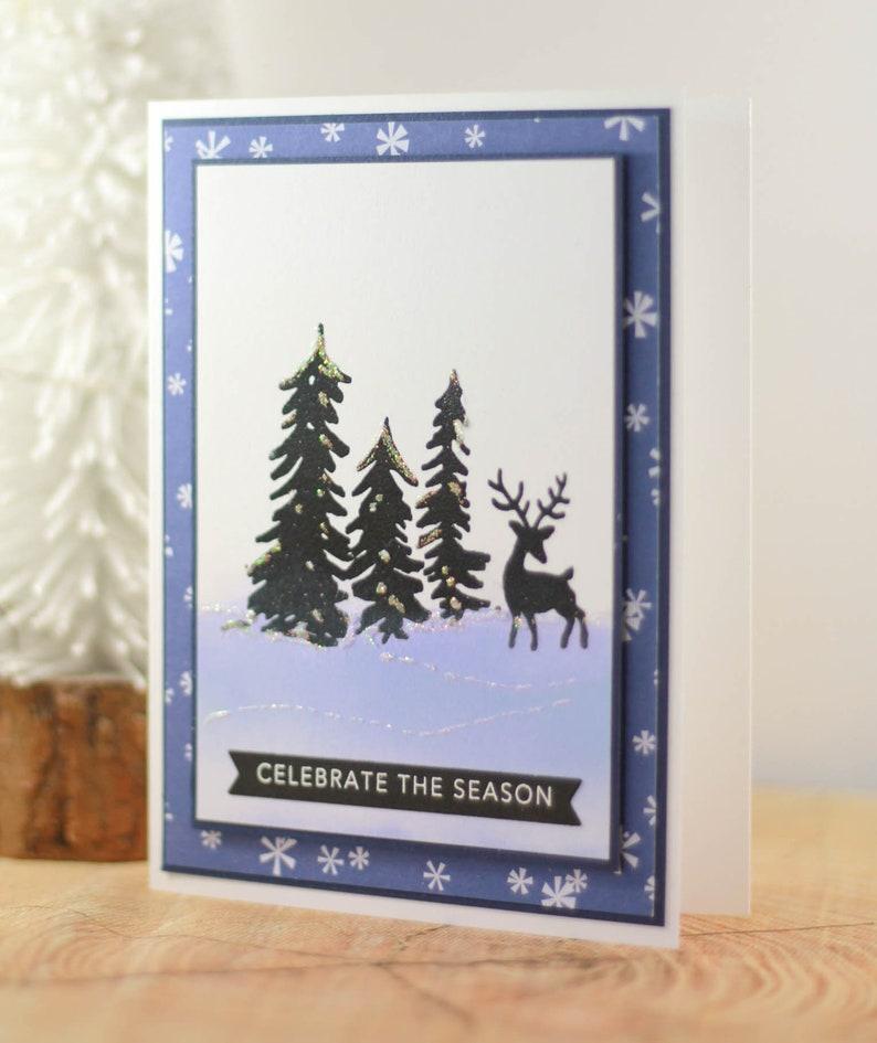 One of a Kind Christmas Card Handmade Christmas Card Winter Scene Christmas Card Deer Holiday Card OOAK Christmas Card Christmas Card