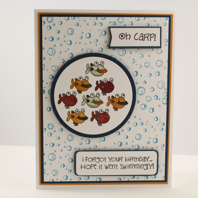 Belated Funny Cute Birthday Card Fish Birthday Card Handmade Etsy