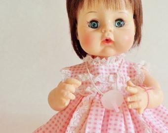 """Vintage Madame Alexander Sweet Tears Doll - 1965 - Brown Hair and Blue Eyes - Pink Dress - 13"""""""