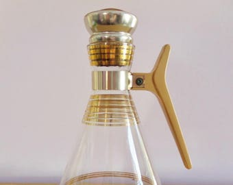 Vintage Glass Decanter/Mid Century Carafe/Inland Company/Gold Stripes