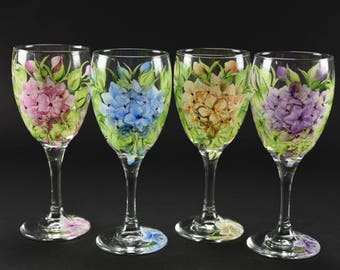 Hand Painted Wine Glasses Etsy
