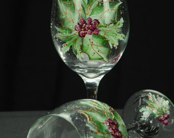 Hand Painted Large Wine Glass / Holly Spray On Clear Glass
