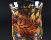 """8"""" Tall Hurricane Candle Holder/ Fall Leaves /Centerpiece"""