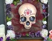Faux Human Skull Altar Shadow Box Lighted Sugar Skull Shrine Day of the Dead Art Dia de los Muerto Folk Art 3D Wall Hanging Diorama