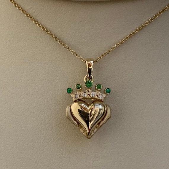 Claddagh Diamond .06 carat Irish hands heart crown 10K yellow gold ring love