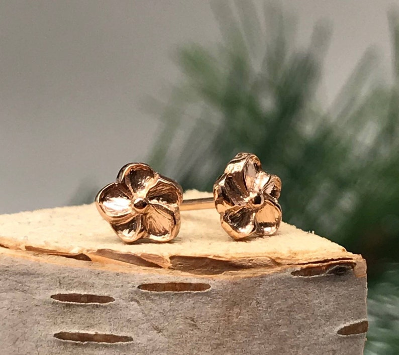 Rose Gold Hibiscus Blossom Tiny Stud Earrings 14k Rose gold Dainty Earrings