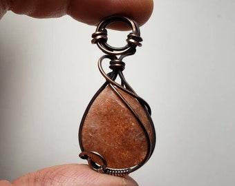 Confetti Sunstone 'Tyet' Mini Pendant Wire Wrapped Oxidized Copper