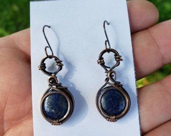 Lapis Lazuli 'Tyet' Wire Wrapped Earrings Oxodized Copper