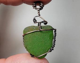 Green Natural Sea Glass 'Smiley' Wire Wrap Pendant Oxidized Copper