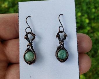 Amazonite 'Tyet' Wire Wrapped Earrings Oxodized Copper