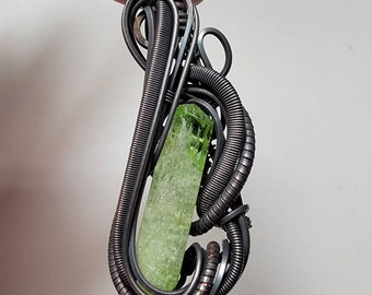 4.6 Gram Chrome Diopside Coil & Flow Wire Wrap Pendant Blackened Copper