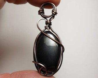 Hematite 'Tyet' Wire Wrapped Pendant in Oxodized Copper