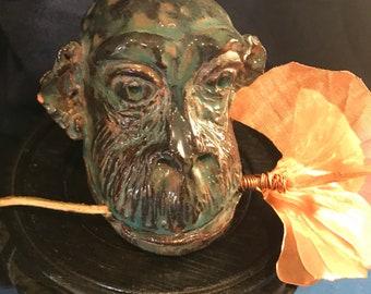 Chimp with Gingko Ceramic Monkey Handmade Sculpture Copper Leaf Copper Leaves Carved Monkey Chimpanze