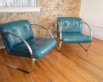 Charles Gibilterra for Brueton Modern Arc Chairs in Leather