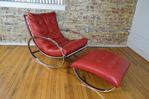 Strange Renato Zevi For Selig Chrome And Leather Ellipse Rocking Chair With Ottoman Short Links Chair Design For Home Short Linksinfo