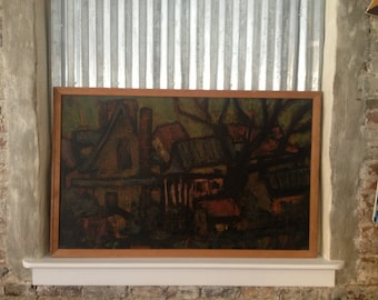 C.N. Cross Signed Expressionist Oil on Board