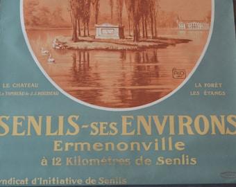 Vintage Art Deco French Travel Poster - Chemin de fer du Nord - Senlis-ses Environs - Original Lithograph
