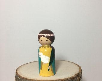 St. Agnes Hand painted Wooden Peg Saint Doll