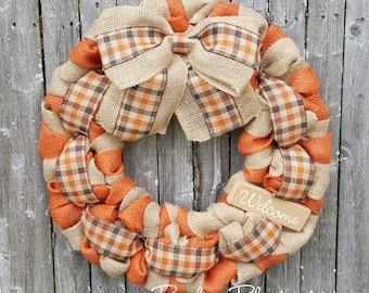 Fall Wreath, Autumn Wreath, Thanksgiving Wreath, Burlap Wreath, Autumn Burlap Wreath, Orange Fall Wreath