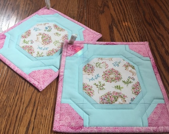 Flowered Hedgehogs Potholders
