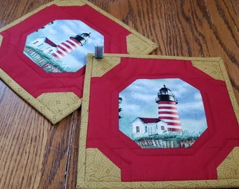 Striped Lighthouse Potholders