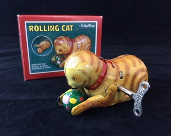 Mechanical Clockwork Wind-Up Tin Rolling Cat - Made In China by Schylling - With Original Box