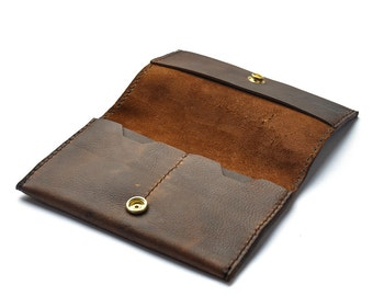 Handmade Leather Tobacco Pouch, Rustic Tobacco Case - Kodiak Oil-Tanned leather - The Ruston From Shire Supply Company