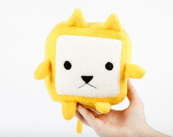 Cube Cat - Yellow - Frida Handmade Soft Toy Plushie