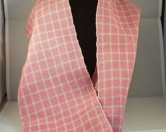 Hand Woven Pink and Green Windowpane Checked Infinity Scarf