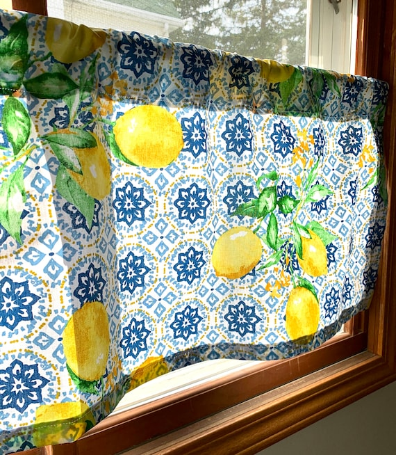 Country Kitchen Curtains Lemon Blue Farmhouse Etsy