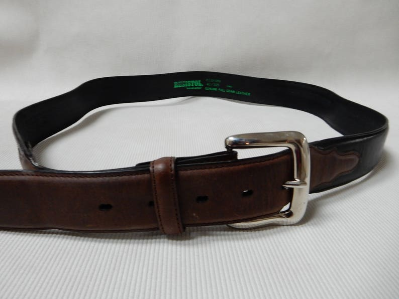 957fb625bf3e Resistol Black and Brown Leather Belt 42 Inch | Etsy