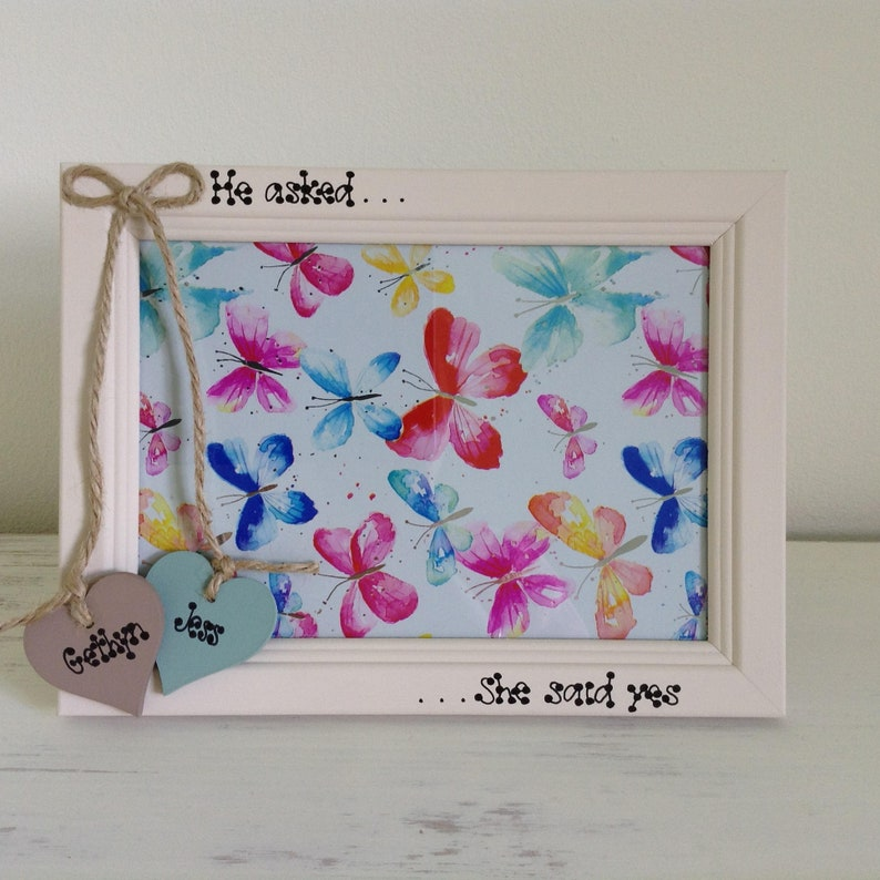Engagement or Wedding Gift He Asked She Said Yes Frame Personalised Bridal Shower Gift fo Couple Anniversary Gift 4 x 6