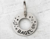 Donut Bagel Ring dog tag custom two-sides -gift - Customized Pet ID Tag - Name Tags - Personalized Pet ID Tags, Space id tag