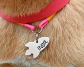 Rocket dog tag Space custom two-sides -gift - Customized Pet ID Tag - Name Tags - Personalized Pet ID Tags
