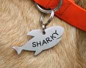 shark pet id tag, shark dog tag, customized pet tag, pet identification collar tag, double sided shark charm pet tag, shark fin
